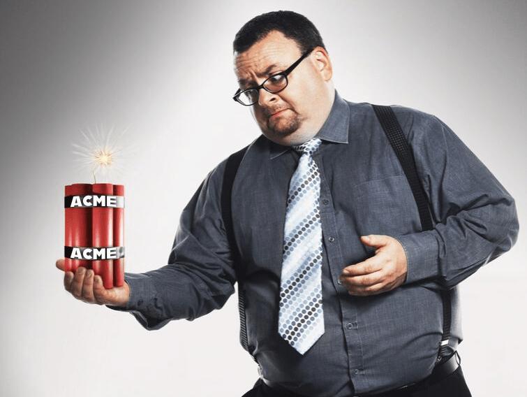Man holding ACME dynamite